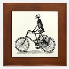 Skeleton on Bicycle Framed Tile
