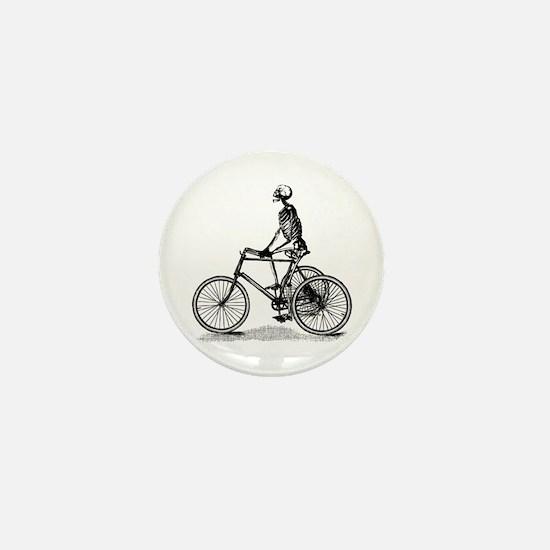 Skeleton on Bicycle Mini Button
