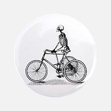 "Skeleton on Bicycle 3.5"" Button"
