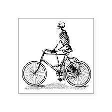 "Skeleton on Bicycle Square Sticker 3"" x 3"""