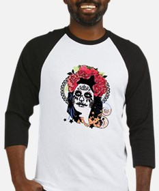 Day Of The Dead Lady Skeleton Hall Baseball Jersey