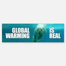 GLOBAL WARMING IS REAL Bumper Car Car Sticker