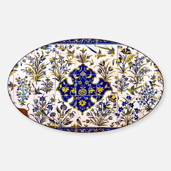 islamic tile design Sticker (Oval)