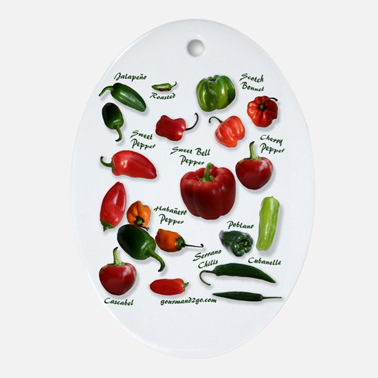 Hot Chili Peppers Oval Ornament