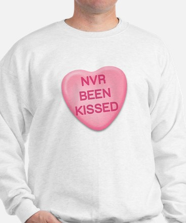 Nvr Been Kissed Candy Heart Sweatshirt