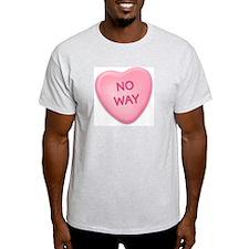 No Way Candy Heart Ash Grey T-Shirt