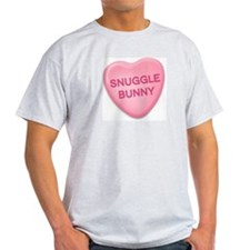 snuggle bunny Candy Heart Ash Grey T-Shirt