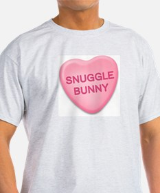 snuggle bunny Candy Heart Ash Grey T-Shirt