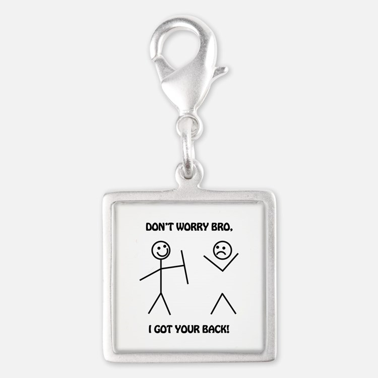 I Got Your Back Silver Square Charm