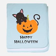 Happy Halloween Cat baby blanket