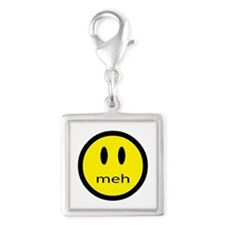 meh - saying of indifference Silver Square Charm