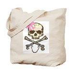 Skull and Crossbones with Pink Bow Tote Bag