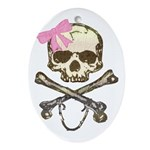 Skull and Crossbones with Pink Bow Oval Ornament