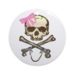 Skull and Crossbones with Pink Bow Ornament (Round
