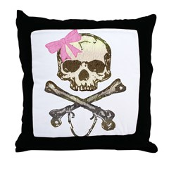Skull and Crossbones with Pink Bow Throw Pillow