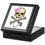 Skull and Crossbones with Pink Bow Keepsake Box