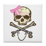 Skull and Crossbones with Pink Bow Tile Coaster