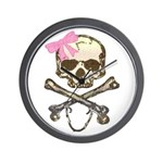 Skull and Crossbones with Pink Bow Wall Clock