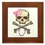 Skull and Crossbones with Pink Bow Framed Tile