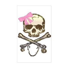 Skull and Crossbones with Pink Bow Decal