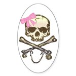 Skull and Crossbones with Pink Bow Oval Sticker