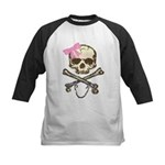 Skull and Crossbones with Pink Bow Kids Baseball J