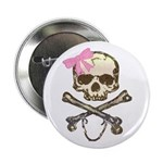 Skull and Crossbones with Pink Bow Button