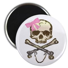 Skull and Crossbones with Pink Bow Magnet