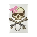 Skull and Crossbones with Pink Bow Rectangle Magne