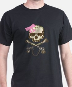 Skull and Crossbones with Pink Bow T-Shirt