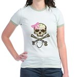 Skull and Crossbones with Pink Bow Jr. Ringer T-Sh