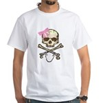 Skull and Crossbones with Pink Bow White T-Shirt