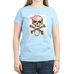Skull and Crossbones with Pink Bow Women's Pink T-