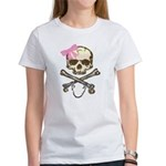 Skull and Crossbones with Pink Bow Women's T-Shirt