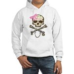 Skull and Crossbones with Pink Bow Hooded Sweatshi