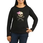 Skull and Crossbones with Pink Bow Women's Long Sl
