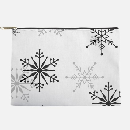 Snowflakes in Black and White Makeup Pouch
