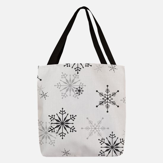 Snowflakes in Black and White Polyester Tote Bag