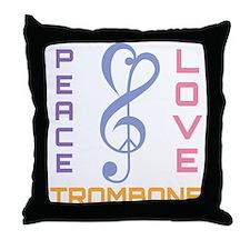 Peace Love Trombone Music Throw Pillow