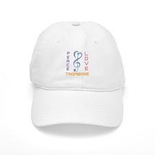 Peace Love Trombone Music Baseball Cap