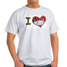 I heart rats (hooded) Ash Grey T-Shirt