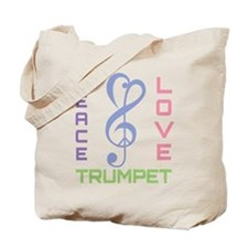 Peace Love Trumpet Music Tote Bag