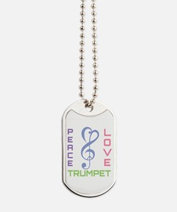 Peace Love Trumpet Music Dog Tags