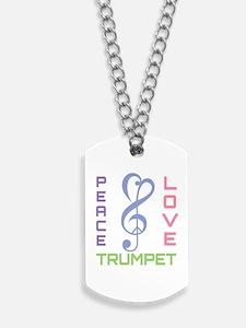 Peace Love Trumpet Music Dog Tags