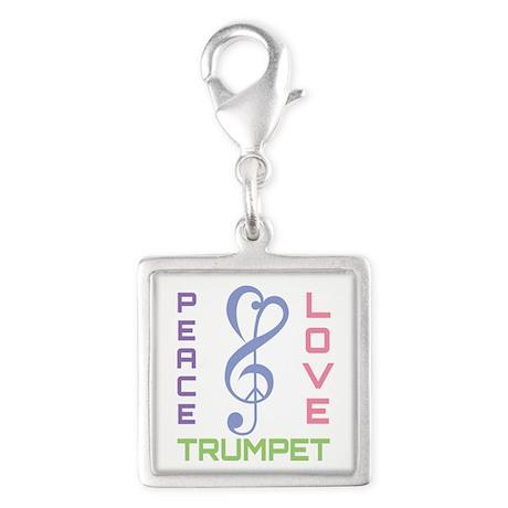 Peace Love Trumpet Music Silver Square Charm