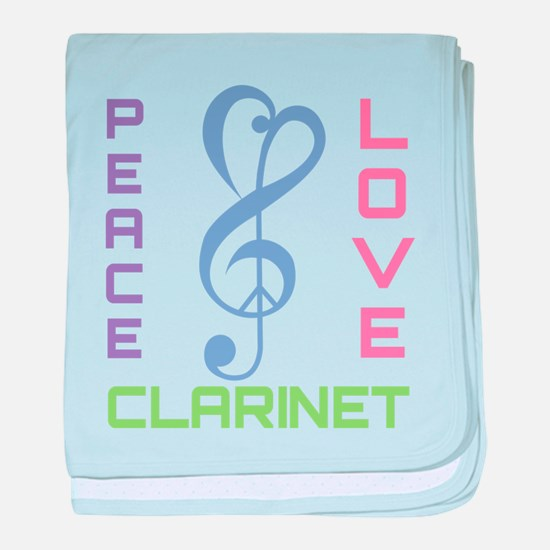Peace Love Clarinet Music baby blanket
