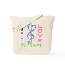Peace Love Clarinet Music Tote Bag