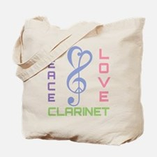 Peace Love Clarinet Music Tote Bag
