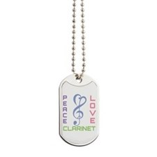 Peace Love Clarinet Music Dog Tags