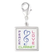 Peace Love Clarinet Music Silver Square Charm